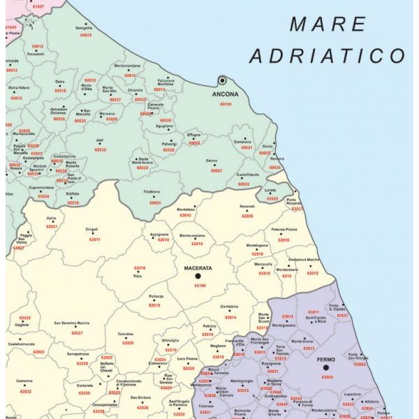 Cartina Geografica Della Regione Marche.Regione Marche Con Cap