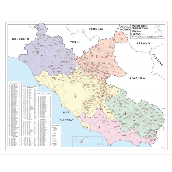 Map of Lazio with postal codes