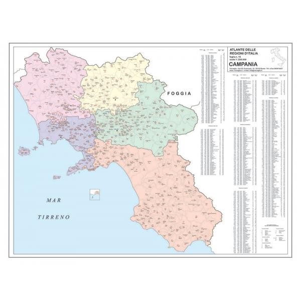 La Cartina Geografica Della Campania.Regione Campania Con Cap