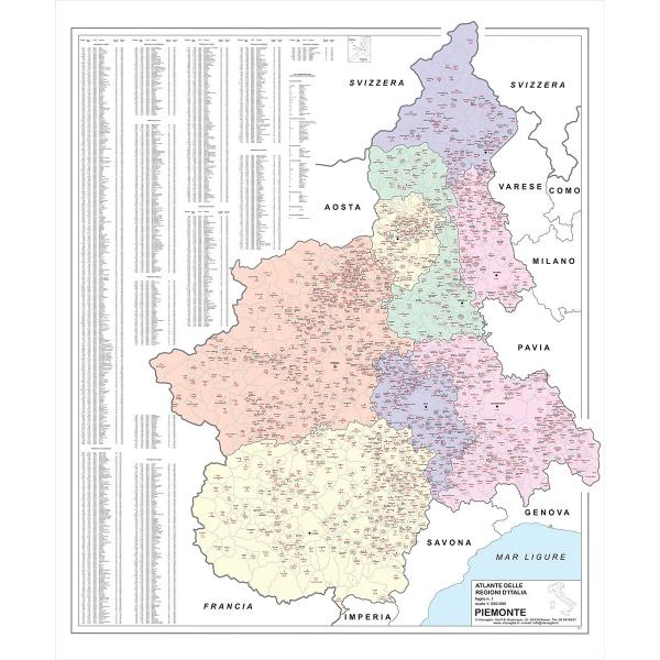 Piemonte Cartina Stradale.Regione Piemonte