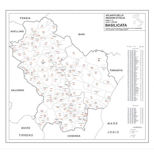 Cartina Geografica Regione Basilicata.Map Of Basilicata With Postal Codes