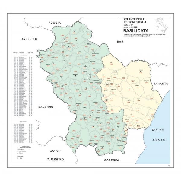Cartina Geografica Regione Basilicata.Regione Basilicata Con Cap