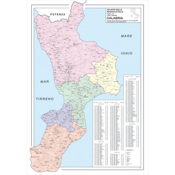 Cartina Geografica Calabria.Regione Calabria Con Cap