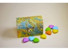Porta fedi bauletto in legno con carte geografiche