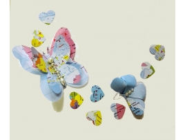 Decorative butterfly with geographical map