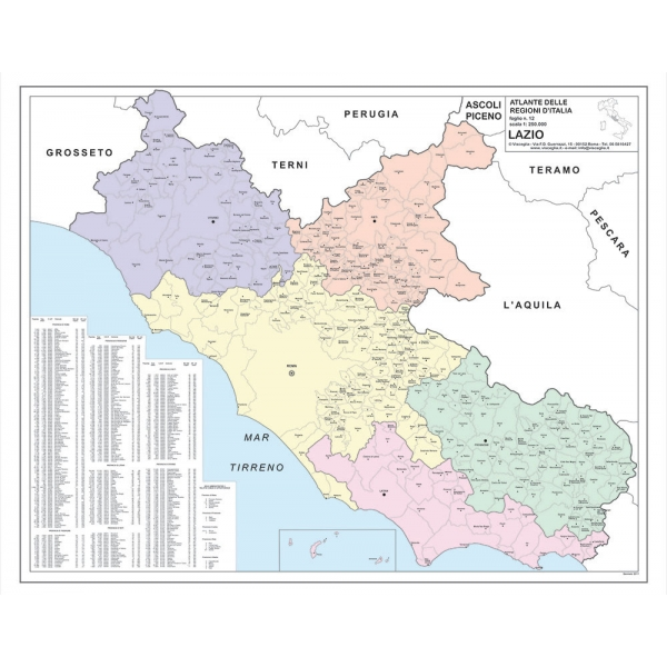 Cartina Del Lazio Con Comuni.Regione Lazio Con Cap