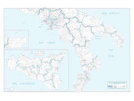Carta geografica dell'Italia amministrativa meridionale