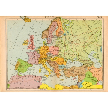 Cartina Italia Politica 1940.Carta Geografica Vintage Dell Europa 1940