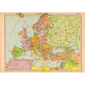 Cartina Stradale D Europa.Carta Geografica Vintage Dell Europa 1940
