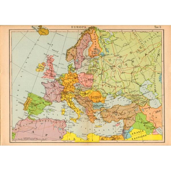 Cartina Dell Europa Geografica.Carta Geografica Vintage Dell Europa 1940