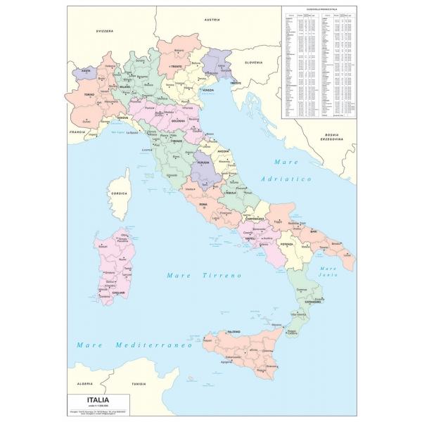 Cartina Geografica Italiana Con Regioni.Carta Geografica Dell Italia Amministrativa A Colori Visceglia Carte E Mappe Geografiche