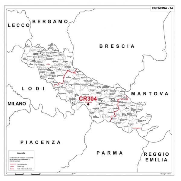Cartina Geografica Provincia Di Cremona.Carta Della Provincia Di Cremona