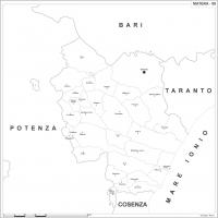 Carta della provincia di Matera