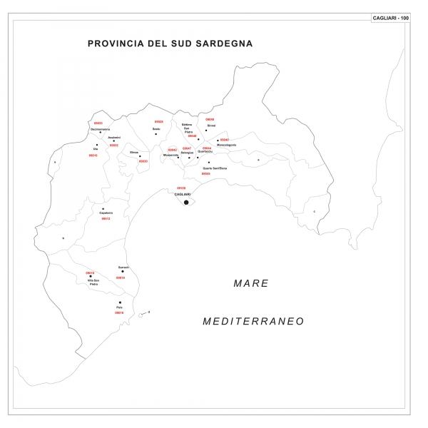 Cartina Geografica Di Cagliari.Carta Geografica Provinciale