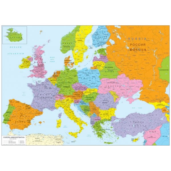 Cartina Geografica Europa Da Stampare.Europa Politica Cm 140 X 100