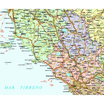 Toscana Politica Cartina Geografica.Carta Geografica Dell Italia Politico Stradale Centrale