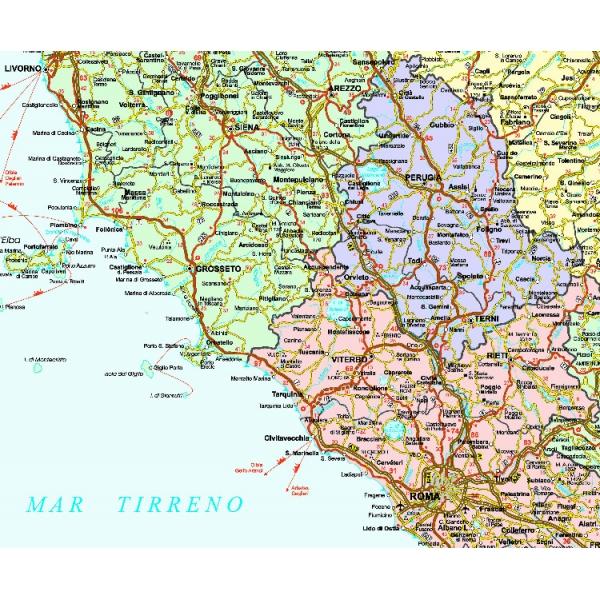 Cartina Geografica Italiana Politica.Italia Politico Stradale Centro
