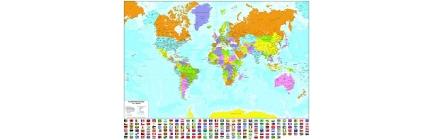 Planisfero politico a colori con bandierine