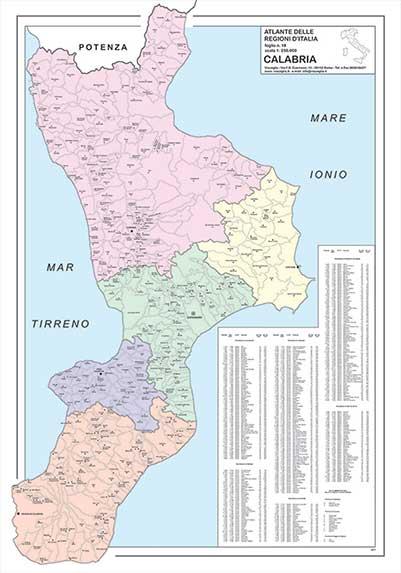 carta geografica Calabria