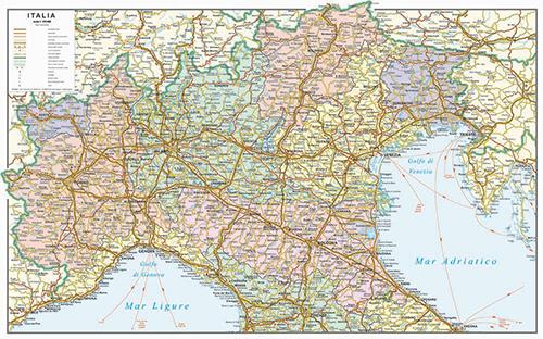 carta stradale del Nord Italia
