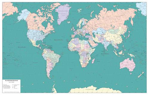 Planisfero politico colori pastello con fusi orari