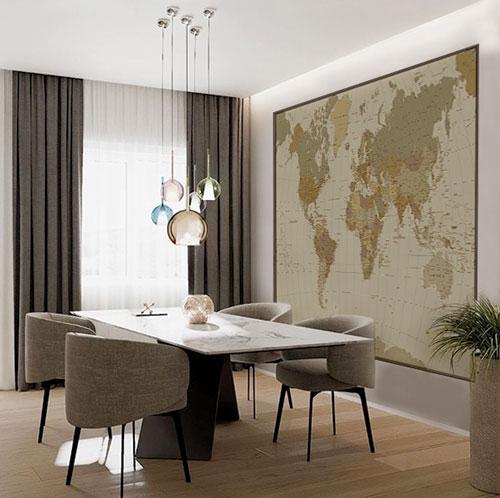 Carte geografiche del mondo come arredamento antico e moderno